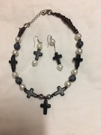 Black and white beaded necklace Beaumont, 77702