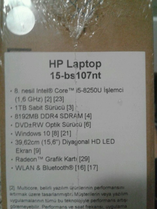 HP Laptop 15-bs107nt ürün etiketi