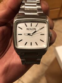 square silver-colored analog watch with link bracelet Newport Beach, 92660