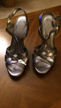 pair of gray open-toe ankle strap heels Somerville, 08876