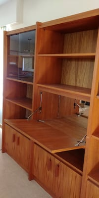 Walnut Bookcase with glass doors Surrey