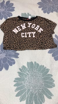 New York City crop t shirt with Cheetah print  Toronto