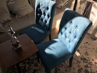 Set of two blue side chairs,