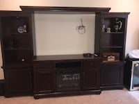 "Brown 70"" TV screen wall unit with electric fireplace and remote 24 km"