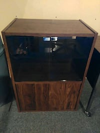 brown wooden framed blac glass t.v stand 3139 km
