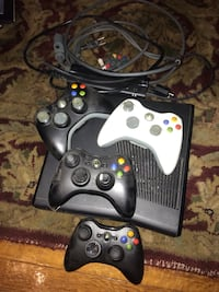 Black xbox 360 console with two controllers West Haven, 06516