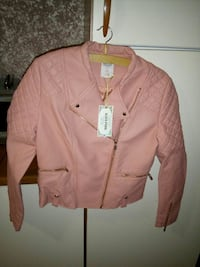giacca con zip in pelle rosa