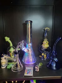 LED remote control Bong and funky Dab Riggs   (Flea Market)
