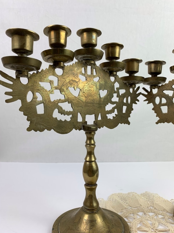 Vintage Brass 5 Arm Dragon and Etched Flower Candelarias (2) 3f7d089d-9582-48b2-8250-8309b7b18ce5