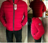 giacca rossa con zip-up bolla