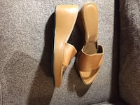 pair of brown leather pointed-toe heeled shoes Council Bluffs, 51501