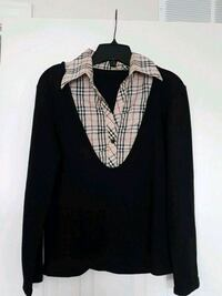 black and beige Burberry collared button-up long-sleeved shirt