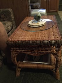 rectangular brown wicker coffee table