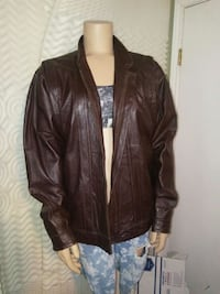 brown leather zip-up jacket Universal City, 78148