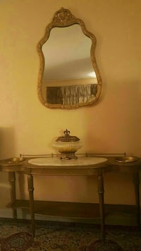 brown wooden vanity table with mirror Bronx