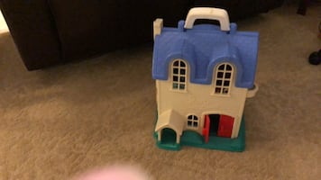 blue and white plastic castle toy