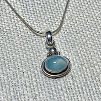 Vintage Sterling Silver Moonstone Pendant with Sterling Rope Chain Ashburn