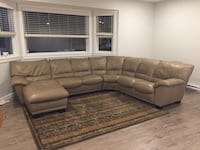 Tan leather sectional sofa Burnaby, V3N 4V5