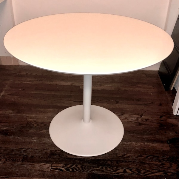 Negotiable Brand New Never Used Cb2 White Round Dining Table