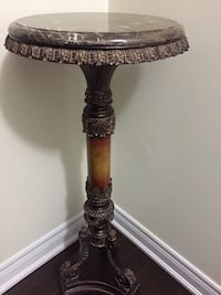 round gray and black marble-top side table with wooden base Vaughan, L4H 3W9