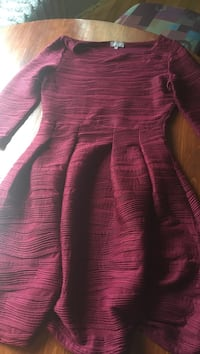 pink and gray stripe long-sleeved dress