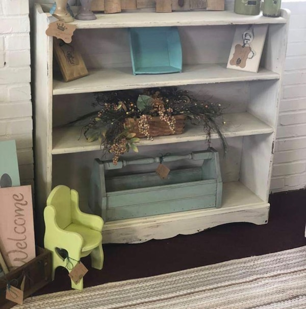 Used White Distressed Bookshelf For Sale In Griffin