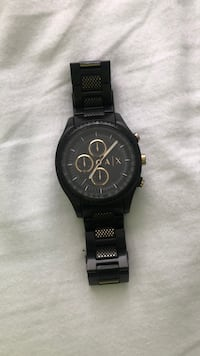 Round black chronograph watch with black strap Windsor, N8P 1R4