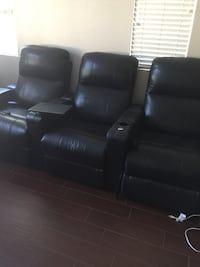 Media chairs, real leather, electrical recliner, attachable/detachable tables, and cup holders  Menifee, 92585