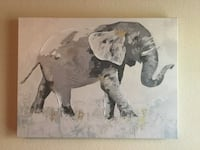 Gray elephant canvas painting.