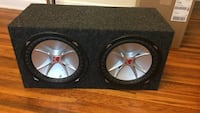 Black-and-gray 12'' pair subwoofers enclosed in box Columbus, 43202
