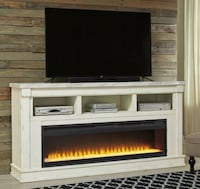 White XL TV Stand with Wide Fireplace Insert Houston, 77036