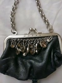 black and silver clutch handbag