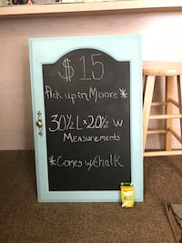 Turquoise wall decor / chalk board.