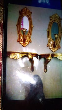 Vintage gold mirror and candle and shelf Greenbelt, 20770