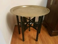 Vintage Persian Brass Tray Table & wooden legs Herndon, 20170