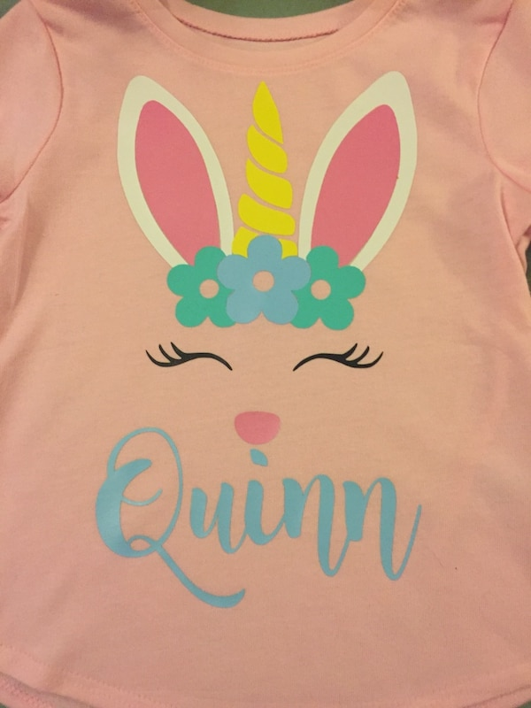 d831257094c27 Used Personalized Vinyl Little Girls Easter Shirt for sale in ...