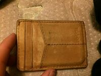 brown Fossil leather card wallet