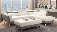 white leather sectional sofa with ottoman Stafford, 77477