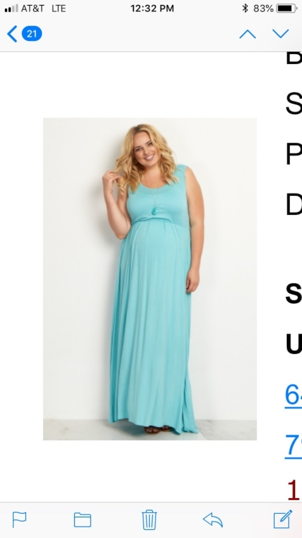 Aqua maternity dress. Sz 2x worn once for pictures