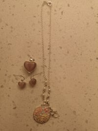 Flower and Pink Heart Pendant with matching Pink H