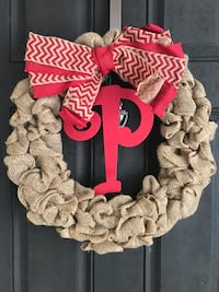 "Burlap Christmas Wreath with initial ""P"" Gonzales, 70737"