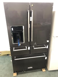 New Open Box KitchenAid black stainless steel 4 doors refrigerator it has never been used 5 months warranty  Baltimore, 21222