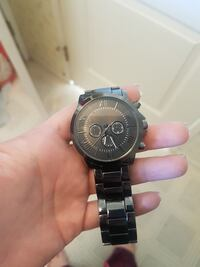 round black case chronograph watch Abbotsford, V4X 1H2