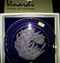 Hand carved glass plate Riverside, 92505
