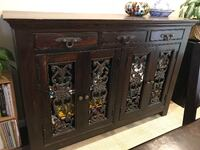 brown wooden framed glass cabinet RIVERSIDE