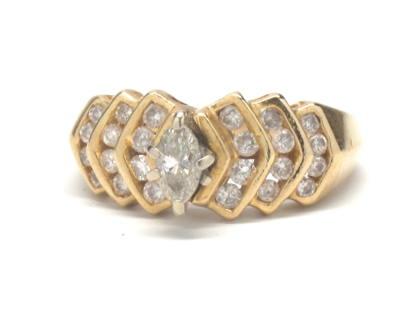 Ladies 14K Antique Marquise Diamond Ring