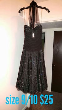 women's black and gray spotted spaghetti strap sleeveless prom dress