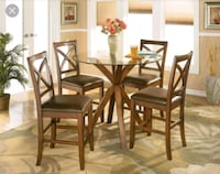 Ashley round glass dining set, table and 4 chairs Brampton, L6Y 5B9