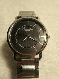 round silver-color Kenneth Cole analog watch
