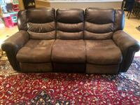brown leather 3-seat recliner sofa Orlando, 32828